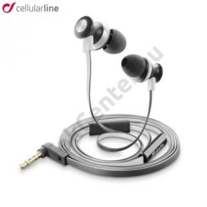 BUG In-Ear james bond SZTEREO (3.5 mm jack, mikrofon, felvevő gomb, agybadugós, lapos kábel) FEHÉR
