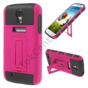 Samsung Galaxy S IV. (GT-I9500) Műanyag telefonvédő (gumi / szilikon betét, kitámasztó) MAGENTA
