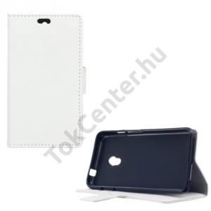 Alcatel Pixi 4 (5) (OT-5010) Tok álló, bőr (FLIP, oldalra nyíló, asztali tartó funkció) FEHÉR