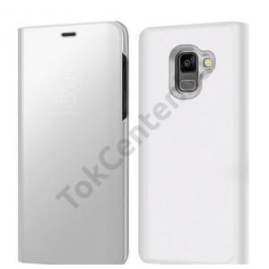 SAMSUNG Galaxy A8 Plus (2018) SM-A730F Tok álló, bőr (aktív flip, oldalra nyíló, asztali tartó funkció, Smart View Cover) EZÜST