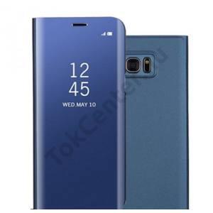 SAMSUNG Galaxy S7. Edge (SM-G935) Tok álló, bőr (aktív flip, oldalra nyíló, asztali tartó funkció, Smart View Cover) KÉK