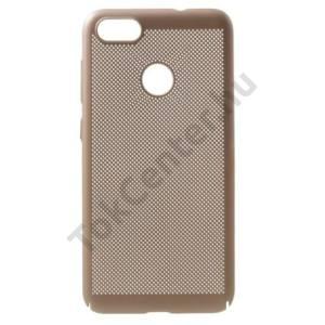 SAMSUNG Galaxy S9 (SM-G960) Műanyag telefonvédő (gumírozott, lyukacsos minta) ARANY