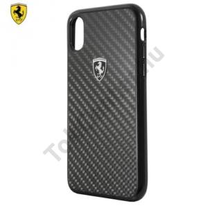 APPLE IPhone X 5,8 Ferrari műanyag telefonvédő (karbon minta) FEKETE
