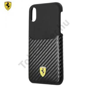APPLE IPhone X 5,8 Ferrari SCUDERIA műanyag telefonvédő (karbon minta) FEKETE
