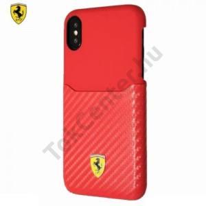 APPLE IPhone X 5,8 Ferrari SCUDERIA műanyag telefonvédő (karbon minta) PIROS