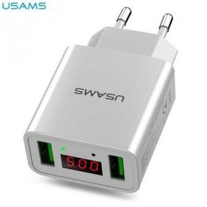 USAMS hálózati töltő 2 x USB aljzat (5V / 2200mA, LED kijelző, kábel nélkül) FEHÉR