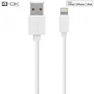 4-OK adatátvitel adatkábel és töltő (lightning 8pin, 180 cm, MFi Apple engedélyes) FEHÉR (IPUS16)
