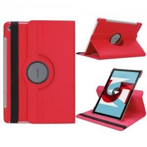 HUAWEI MediaPad M5 10 Tok álló, bőr (FLIP, asztali tartó funkció, 360°-ban forgatható) PIROS