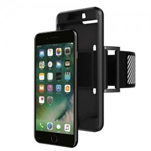 APPLE IPhone 7 Plus 5.5 /APPLE IPhone 8 Plus 5.5  Telefonvédő gumi / szilikon (karra rögzíthető, sportoláshoz, fényvisszaverő csík) FEKETE