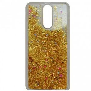 APPLE IPhone 5 / 5S /SE Telefonvédő gumi / szilikon (csillogó, flitteres folyadék hátlap) ARANY
