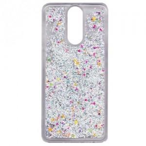 APPLE IPhone 5 / 5S /SE Telefonvédő gumi / szilikon (csillogó, flitteres folyadék hátlap) EZÜST