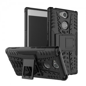 SONY Xperia XA2 Ultra (H4213) Defender műanyag telefonvédő (közepesen ütésálló, gumi / szilikon belső, kitámasztó, autógumi minta) FEKETE