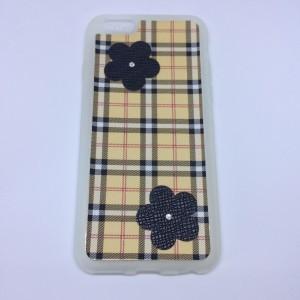 Apple iPhone 6 4.7/ Apple iPhone 6S 4.7 Szilikon telefonvédő, Skót kockás alap, Fekete virág