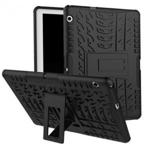 HUAWEI MediaPad T3 10 Defender műanyag telefonvédő (közepesen ütésálló, gumi / szilikon belső, kitámasztó, autógumi minta) FEKETE