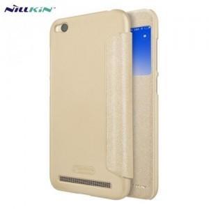 XIAOMI Redmi 5A NILLKIN SPARKLE műanyag telefonvédő (mikroszálas bőr flip, oldalra nyíló, S-View Cover) ARANY