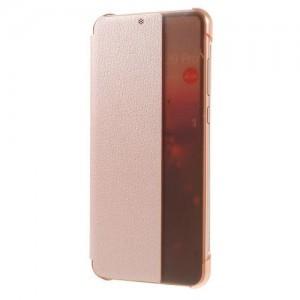 HUAWEI P20 Tok álló, bőr (aktív flip, oldalra nyíló, Smart View Cover) ROZÉARANY
