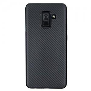 SAMSUNG Galaxy A6 (2018) SM-A600F Telefonvédő gumi / szilikon (karbon minta) FEKETE