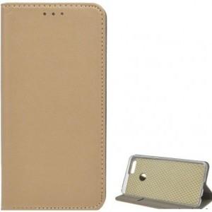 HUAWEI P Smart (Enjoy 7S) Tok álló, bőr (FLIP, oldalra nyíló, asztali tartó funkció) ARANY