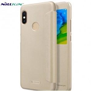 XIAOMI Mi A2 (Mi 6X) NILLKIN SPARKLE műanyag telefonvédő (mikroszálas bőr aktív flip, oldalra nyíló, S-View Cover) ARANY