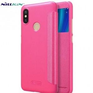 XIAOMI Mi A2 (Mi 6X) NILLKIN SPARKLE műanyag telefonvédő (mikroszálas bőr aktív flip, oldalra nyíló, S-View Cover) RÓZSASZÍN