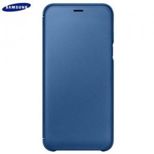 SAMSUNG Galaxy A6 (2018) SM-A600F Műanyag telefonvédő (aktív flip, oldalra nyíló, bankkártya tartó, karbon minta) KÉK