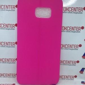 SAMSUNG Galaxy S6 Edge + (SM-G928) Ultravékony bőr hatású szilikon tok, PINK