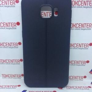 SAMSUNG Galaxy S6 (SM-G920) Telefonvédő gumi / szilikon bőr hatású, varrásminta, FEKETE