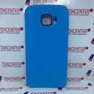 SAMSUNG Galaxy S6 (SM-G920) Telefonvédő gumi / szilikon bőr hatású, varrásminta, KÉK
