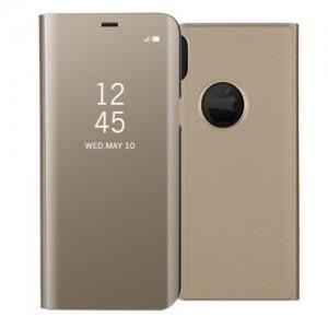APPLE IPHONE X Műanyag telefonvédő (aktív flip, oldalra nyíló, Smart View Cover) GOLD