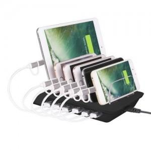 Asztali töltő állomás (6 készülék egyidejű töltésére, 6 x USB aljzat, 5V/2400mAh, kábel nélkül ) FEKETE
