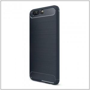 XIAOMI Redmi S2 Telefonvédő gumi / szilikon (közepesen ütésálló, légpárnás sarok, szálcsiszolt, karbonminta) SÖTÉTKÉK