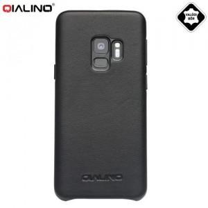SAMSUNG Galaxy S9 Plus (SM-G965) QIALINO műanyag telefonvédő (valódi bőrbevonat) FEKETE