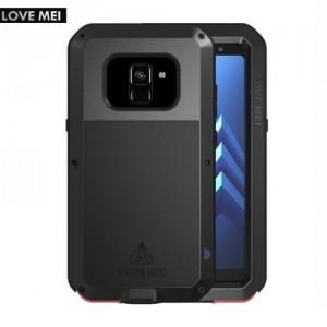 SAMSUNG Galaxy A8 (2018) SM-A530F LOVE MEI Powerful defender telefonvédő gumi (ütésálló, Gorilla Glass üveg, fém keret) FEKETE