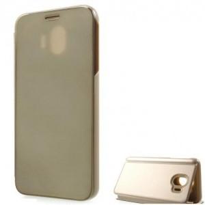 SAMSUNG Galaxy A6+ (2018) SM-A605F Tok álló, bőr (oldalra nyíló, asztali tartó funkció, tükrös felület, Mirror View Case) ARANY