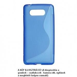 LG G2 mini (D620) Telefonvédő gumi / szilikon (S-line) KÉK + Fekete szilikon tok + FÓLIA (csomagban)