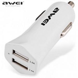 AWEI szivargyújtó töltő/autós töltő 2 x USB aljzat (5V/1000mA, 5V/2400mA, kábel nélkül) FEHÉR