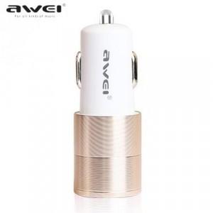 AWEI szivargyújtó töltő/autós töltő 2 x USB aljzat (5V/1000mA, 5V/2400mA, kábel nélkül) ARANY