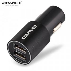 AWEI szivargyújtó töltő/autós töltő 2 x USB aljzat (5V/1000mA, 5V/2400mA, gyorstöltés támogatás, kábel nélkül) FEKETE