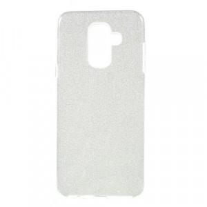 SAMSUNG Galaxy A6+ (2018) SM-A605F Telefonvédő gumi / szilikon (műanyag belső, kivehető csillámporos papír réteg) EZÜST