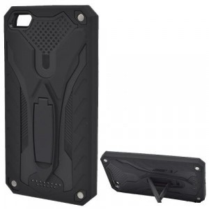 HUAWEI Mate 10 Lite Defender műanyag telefonvédő (gumi / szilikon belső, közepesen ütésálló, kitámasztó) FEKETE