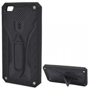 HUAWEI P8 Lite Defender műanyag telefonvédő (gumi / szilikon belső, közepesen ütésálló, kitámasztó) FEKETE