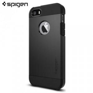 APPLE IPhone 5 /APPLE IPhone 5S /APPLE IPhone SE SPIGEN TOUGH ARMOR telefonvédő gumi / szilikon (közepesen ütésálló, műanyag hátlap, légpárnás sarok) FEKETE