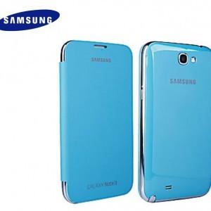 SAMSUNG Galaxy Note II (GT-N7100) Műanyag telefonvédő (oldalra nyíló) FLIP, VILÁGOSKÉK (NFC-s)