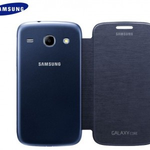 Samsung Galaxy Core (GT-I8260) Műanyag telefonvédő (FLIP, oldalra nyíló) SÖTÉTKÉK