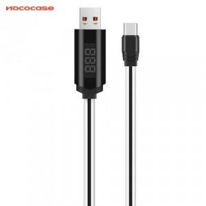 HOCO U29 adatátvitel kábel és töltő (Type-C, 1m,törésgátló, állítható időzítő, LED kijelző, gyorstöltés támogatás) FEHÉR