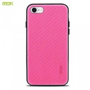 APPLE IPhone 7 4.7 /APPLE IPhone 8 4.7 MOFI HONOR műanyag telefonvédő (szilikon keret, bőr hátlap, fonott minta) MAGENTA