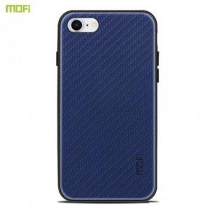 APPLE IPhone 7 4.7 /APPLE IPhone 8 4.7 MOFI HONOR műanyag telefonvédő (szilikon keret, bőr hátlap, fonott minta) SÖTÉTKÉK