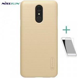 LG Q7 (X210) NILLKIN SUPER FROSTED műanyag telefonvédő (gumírozott, érdes felület, képernyővédő fólia, tisztítókendő) ARANY