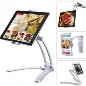 Készülék tartó állvány (alumínium, 360°-ban forgatható, asztali tartó, falra szerelhető, 12.5 - 19 cm szélességig) EZÜST
