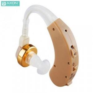 AXON hallókészülék (fül mögötti vezeték nélküli, hangerőszabályzó, hallást javító, 2db AG13 elemmel!) BÉZS